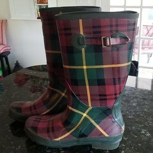 L.L.Bean Wellies Tartan Plaid Tall Rain Boots 11